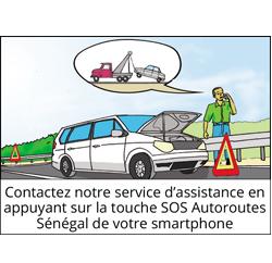 contactez notre service d'assistance en appuyant sur la touche SOS Autoroutes Sénégal de votre Smartphone