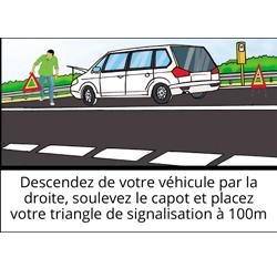descendez de votre vehicule par la droite soulevez le capot et placez votre triangle de signalisation a 100m